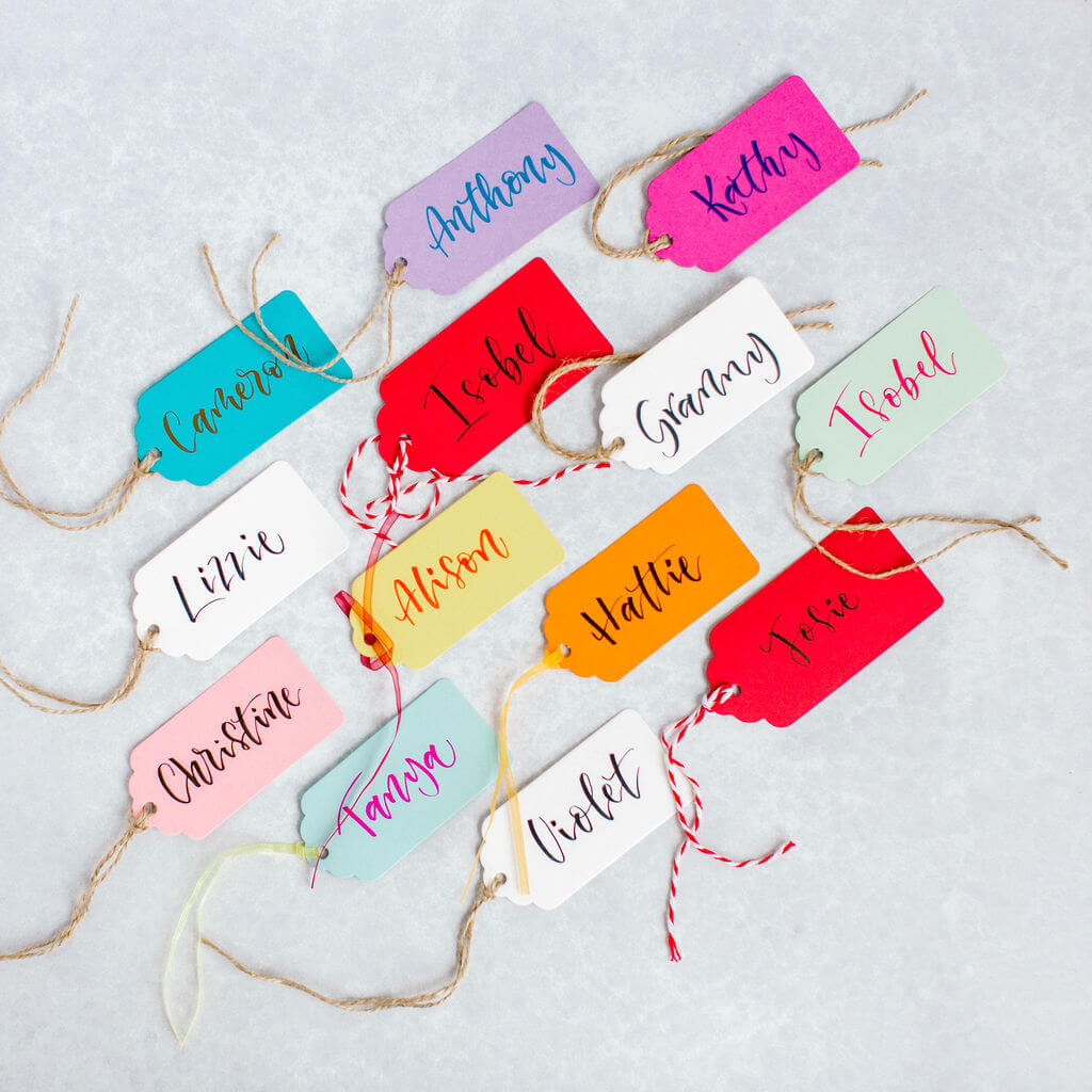 Stylish colourful gift tags created in modern brush pen calligraphy.