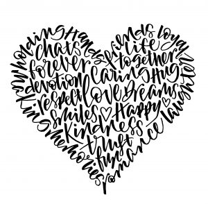 Modern Brush Pen Calligraphy Heart designed by Laura Prudence Calligraphy, Chichester, West Sussex