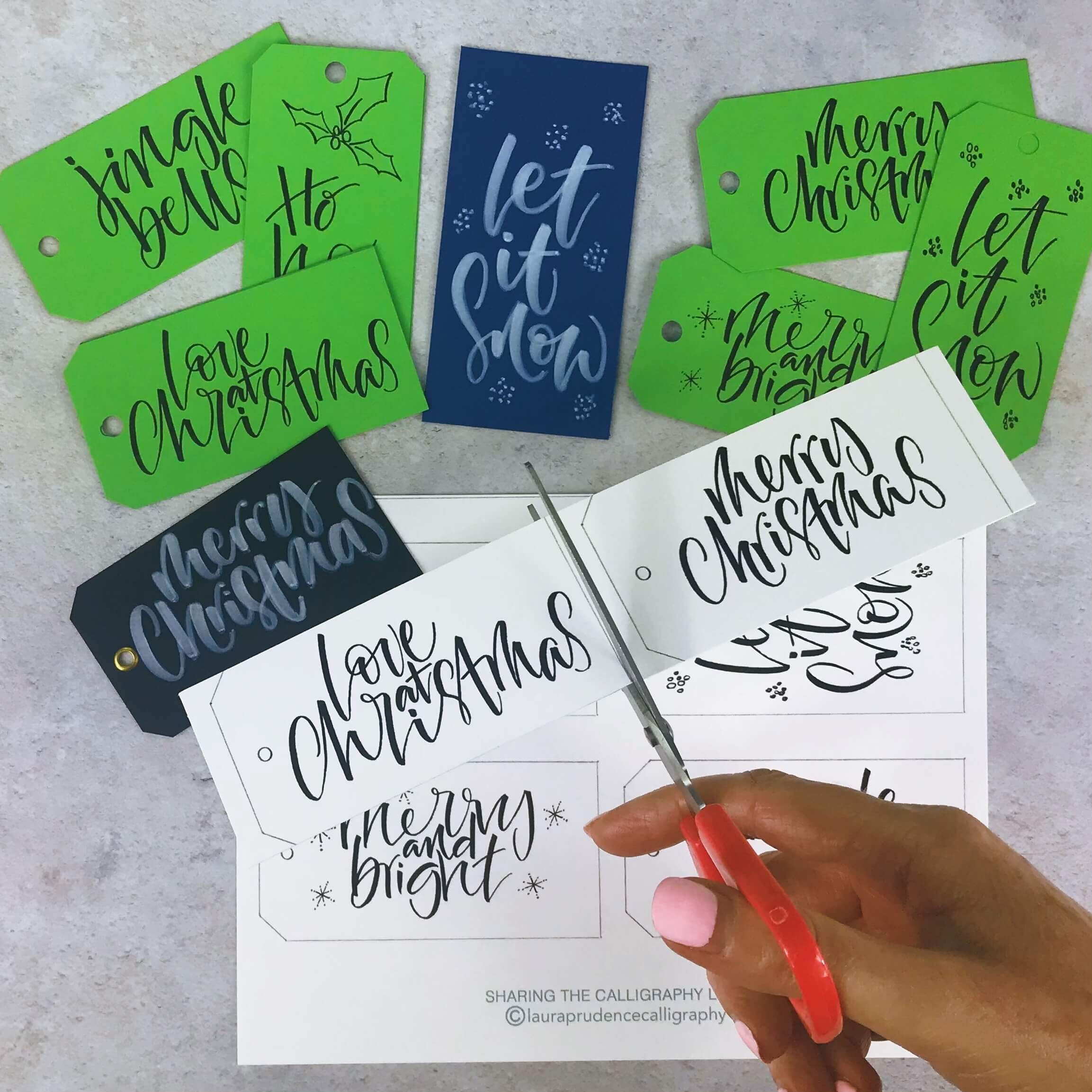 cutting tags love at christmas